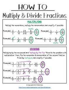 Printable/Poster on multiplying and dividing fractions. No improper fractions. Fractions Worksheets, Math Fractions, Multiplication, Equivalent Fractions, Math Charts, Math Anchor Charts, Life Hacks For School, School Study Tips, Homeschool Math