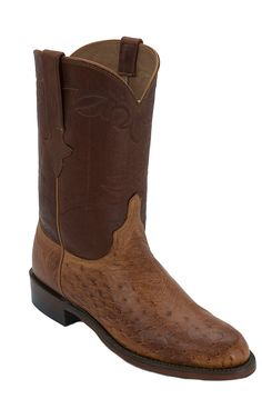 Lucchese 1883 Men's Barnwood Tan Smooth Ostrich Exotic Roper Boots