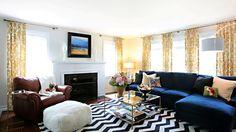 navy velvet w/ black and white chevron rug