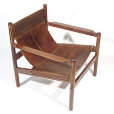 Mid Century Leather And Teak Sling Lounge Chair