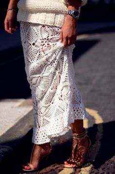 a knit, crochet, heels and sun = stylishly relaxed
