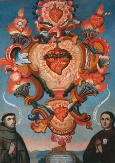 Holocausto de Corazones al Sagrado Corazon de Jesus; Museo Soumaya, Mexico City, D.F., Mexico; 17th century. Clockwise from top: the Immaculate Heart of Mary; the Transverberated Heart of Sta. Teresa; the Charitable Heart of Sn. Lorenzo; the Ardent Heart of Sn. Cayetano; the Inflamed Heart of Sn. Ignacio; and the Most Chaste Heart of Sn. Jose