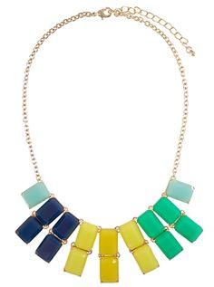 Cool Tone Rectangle Necklace | $9 | jewelboxonline.com