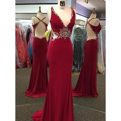 V-neck Rhinestone Cross Back Long Sheath Red Jersey Prom Dresses, Popular Prom Dresses, Cheap Prom Dresses, 2017 Prom Dresses, Prom Dresses, PD0933