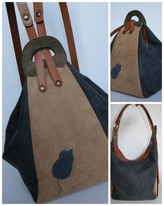 Made by Arina Rasputina: Сумка-рюкзак с мышами OBS: E nesse site tem outra mochila interessante. Diy Sac Pochette, My Bags, Purses And Bags, Diy Sewing Projects, Denim Bag, Quilted Bag, Fabric Bags, Leather Projects, Handmade Bags