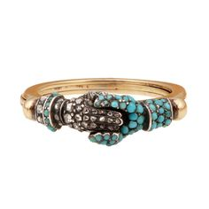 Georgian Turquoise Diamond Gold Gimmel Ring