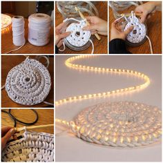 How to DIY Crochet Illuminated Rug tutorial and instruction. Follow us: www.facebook.com/fabartdiy Crochet Home Decor, Crochet Mat, Crochet Rope, Crochet Carpet, Free Crochet, Yarn Crafts, Crochet Crafts, Crochet Projects, Diy Carpet