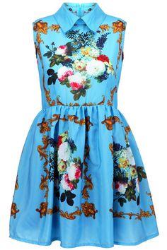 Retro Printing Blue Dress, The Latest Street Fashion
