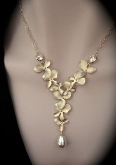 Bridal jewelry Gold Orchid necklace Pearl by QueenMeJewelryLLC, $69.99