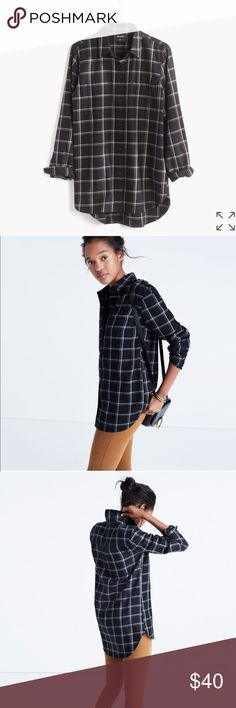 Classic Ex-Boyfriend Shirt in Windowpane Plaid Brand new with tags. Needed a bigger size to get that boyfriend fit.   Our signature plaid tomboy button-down in a supercozy double-brushed flannel that's soft inside and out. Ex-boyfriend shirt, next-boyfriend attitude.  True to size. Cotton. Machine wash. Color: Almost Black. Madewell Tops Button Down Shirts