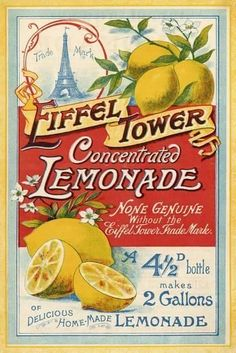 Vintage Illustration Stretched Canvas Print: Eiffel Tower Concentrated Lemonade, 1900 by The Vintage Collection : - Pub Vintage, Vintage Diy, Vintage Labels, Vintage Signs, French Vintage, Vintage Ephemera, Vintage French Posters, Vintage Packaging, Vintage Room