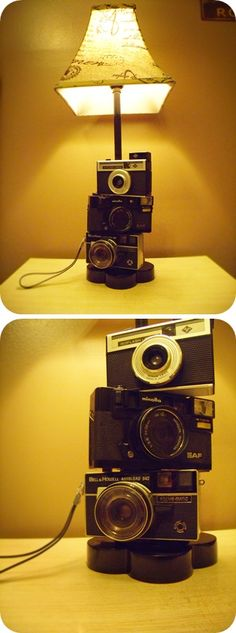 Vintage Camera lamp! It looks super cute in my photography themed room!