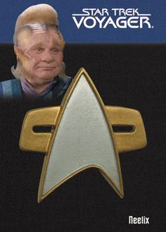 """The """"Quotable"""" Star Trek Voyager Trading Cards Communicator Pin Card - Rittenhouse Archives    http://www.scifihobby.com/products/startrek/voyagerquotable/index.cfm"""