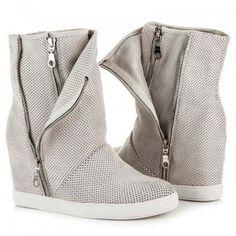 Dámské boty na klínku Queen Bee Charuma šedé AKCE - šedá 427040579e