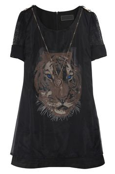 Black Short Sleeve Tiger Print Mesh Yoke Dress