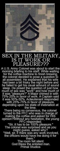 Sex in the military Military Jokes, Army Humor, Funny Quotes, Funny Memes, Hilarious, Life Quotes, Starwars, Marine Corps Humor, Marine Jokes