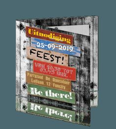 Houten uitnodiging 12,5 jaar jubileum feest. 12,5 jaar getrouwd kaart. Creative Ideas, Crafting, Anniversary, Party, Books, Livros, Fiesta Party, Libros, Craft