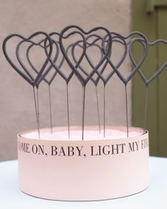 """Festive Sparklers Heart-shaped sparklers from Say Anything Design awaited in vessels filled with pink sand. Witty words tied several of the day's elements together, from favors and cocktail napkins to hankies and a """"Just Married"""" sign. Wedding Favors, Wedding Reception, Our Wedding, Dream Wedding, Reception Ideas, Wedding Bells, Summer Wedding, Wedding Stuff, Wedding Cakes"""