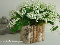 natural birch bark wood vases wedding flower pot, bridal shower, centerpieces, baskets, woodwork, rustic, chic wedding lily of the valley by aniamelisa on Etsy https://www.etsy.com/listing/128282014/natural-birch-bark-wood-vases-wedding
