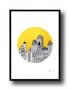 City in the yellow - A5 poster