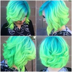 love this bright blue to neon green<3