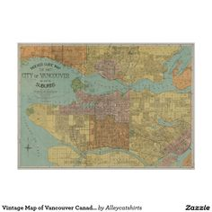 Vintage Map of Vancouver Canada (1920) Poster