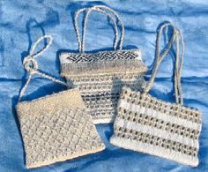 Unbleached cotton kete with woven taniko bands stitched to the bags. These bags… Flax Weaving, Basket Weaving, Book Binding, Making Ideas, Crochet Bikini, Straw Bag, Projects To Try, Stitch, Sewing
