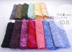 Choose TWO 2 Wide Lace Hairbands MANY COLORS by stunninglooks, €10.50