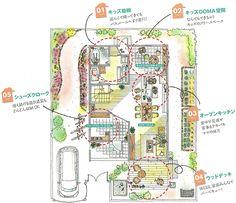 家族で楽しむ、子育ての家 1F平面図 / キッチンとつながるキッズ土間