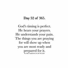 God's timing...