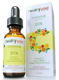 HealthyWiser - ORGANIC Vitamin C Serum For Face 20% Vitamin E + Vegan Hyaluronic Acid + Organic Aloe, Jojoba Oil + Amino Blend - The Best Anti Aging Formula with Natural Ingredients, 1 Ounce