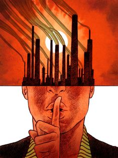 A political illustration by Koren Shadmi about corporations and global warming