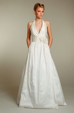 Style 1150 Ivory Silky Taffeta A-line bridal gown, halter neckline, natural…