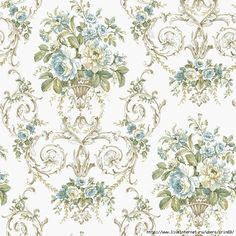 York Wallcoverings English Hills Off White and Teal Classical Floral Wallpaper Flowery Wallpaper, Damask Wallpaper, Room Wallpaper, Pattern Wallpaper, Wallpaper Backgrounds, Paisley Art, French Decor, Shabby Vintage, Rose Design