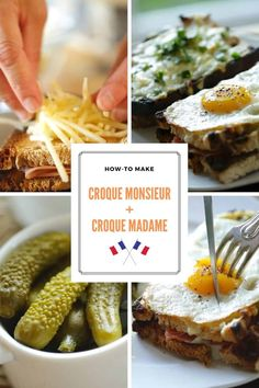 Croque Madame and Croque Monsieur Sandwiches Egg Recipes, Cooking Recipes, Quick Weeknight Meals, French Recipes, French Food, Sunday Brunch, French Style, Meal Ideas, Quiche
