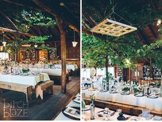 Ogontz Camp, NH Wedding Photography by Birch Blaze Studios. Rustic summer camp wedding inspiration. Ideas for rustic wedding details. Trees indoors, leaves, antique hanging window sash.