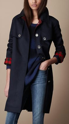 Burberry Brit Long Cotton Trench Coat                                                                                                                                                      Plus