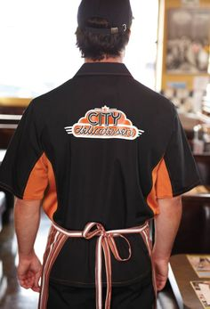 Black and Orange contrasting Cool Vent server shirt, available from ChefsEmporium.net