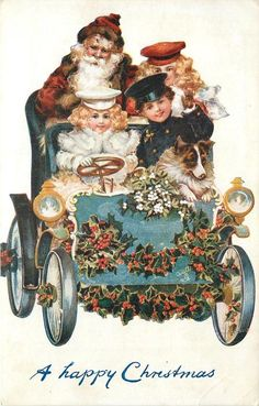 A HAPPY CHRISTMAS Santa sits on back seat of car driven by girl in white, 2 other children & Collie in car.  Vintage Tuck card,