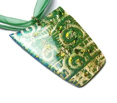 Resin Pendant Necklace Embossed Polymer Clay by SweetchildJewelry, $27.00  #CFEST #art_school_grad #green #microglitter #goldleaf