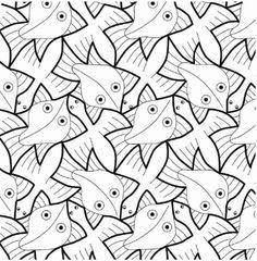 Escher -Vis en vogel