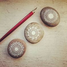 ...practicing with my new ink pen... #beautiful_stones #paintedrocks…