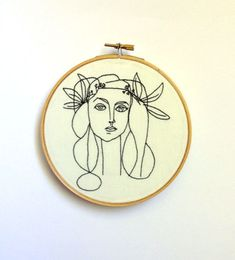 Hand Embroidered Pablo Picasso Line Drawing - Framed in 6 inch hoop, minimalist art, wall decor, line drawing, embroidery, hoop art