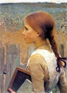 George Clausen A School Girl, oil on canvas, 56 x cm, private collection. This could be Anne of Green Gables! Gustav Klimt, John Everett Millais, Dante Gabriel Rossetti, John William Waterhouse, English Artists, Portraits, Portrait Art, Anne Of Green Gables, Fine Art