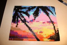 Perler Bead Sunset with Palm Trees Beach by SandCbeadworks