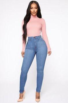 Don't Bring Me Flowers Bodysuit – Black Classic High Waist Skinny Jeans – Medium Blue Wash Black Girl Fashion, Look Fashion, Jeans Fashion, Classic Fashion, Fashion Outfits, High Jeans, High Waist Jeans, High Waist Skinny Jeans, Hot Girls