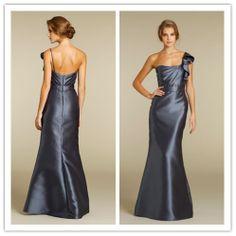 Ruched One Shoulder Strapless Neckline Cascading Ruffle Belt Trumpet  Floor Length Bridesmaid Dresses US $99.00