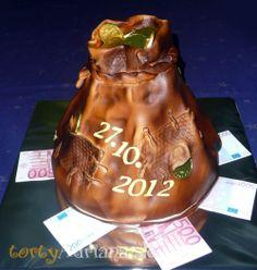 Svadobné torty, poschodové svadobne torty » Torta peniaze, mešec peňazí a bankoviek