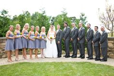 wonderful purple and gray wedding party.