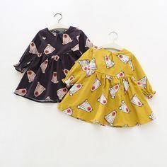 2017 Baby Girl Dress Spring Long Sleeve Cartoon Polar Bear Print Kids Dress For Girls Children Costume 1-4 Years